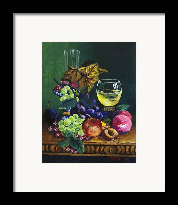 Fruit And Wine Framed Print featuring the painting Fruit And Wine by Karon Melillo DeVega