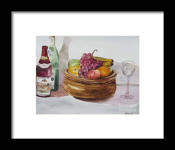 Fruit And Wine Framed Print featuring the painting Fruit And Wine by Martin Howard
