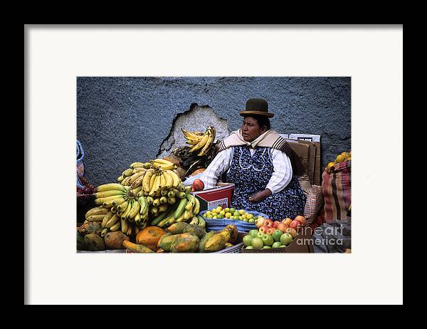 Bolivia Framed Print featuring the photograph Fruit Seller by James Brunker