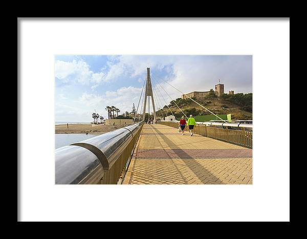 Málaga Province Framed Print featuring the photograph Fuengirola, Spain. Suspension Bridge And Castle. by Ken Welsh