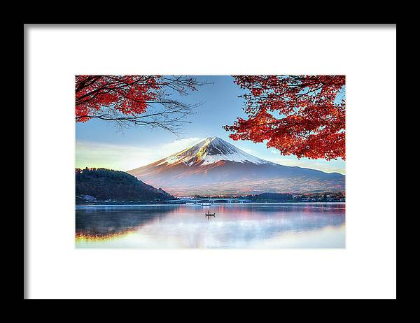 Snow Framed Print featuring the photograph Fuji Mountain In Autumn by Doctoregg