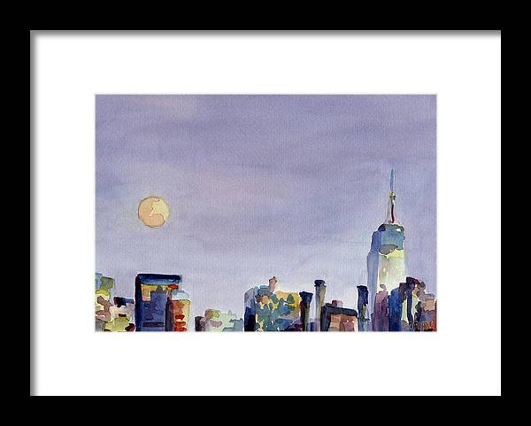 New York Framed Print featuring the painting Full Moon and Empire State Building Watercolor Painting of NYC by Beverly Brown