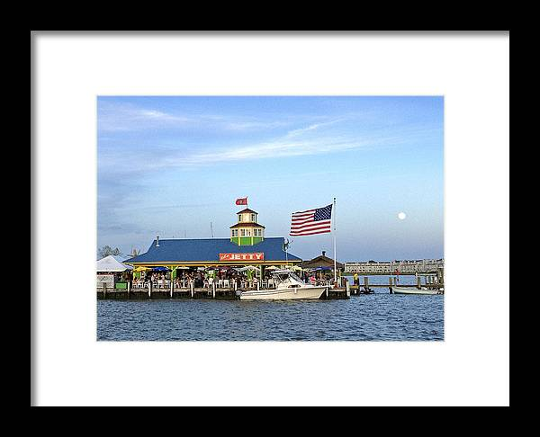 Jetty Restaurant And Dock Bar Framed Print featuring the photograph Full Moon At The Jetty by Dale Hall
