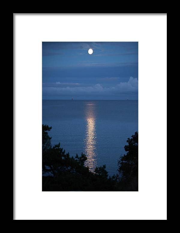 Archipelago Framed Print featuring the photograph Full Moon Over Sea by Johner Images