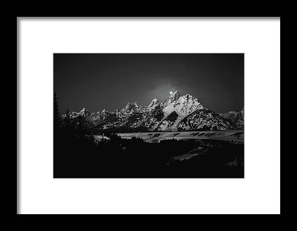 River Framed Print featuring the photograph Full Moon Sets In The Teton Mountain Range by Raymond Salani Iii