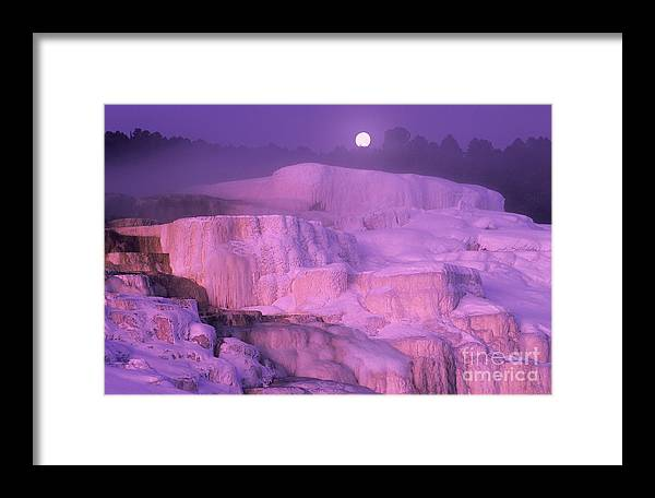 North America Framed Print featuring the photograph Full Moon Sets Over Minerva Springs On A Winter Morning Yellowstone National Park by Dave Welling