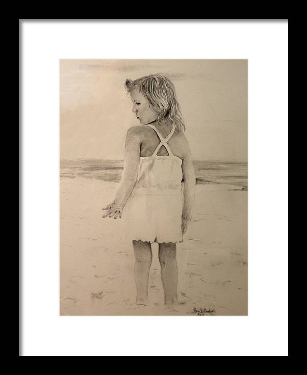 Girl Framed Print featuring the drawing Fun Day At Beach by Gene Goodwin