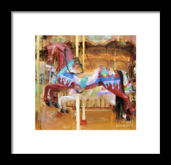 Art;carousel Horse;horse;brown;carousel;digital Painting;digital Art;unique;one Of A Kind Framed Print featuring the digital art Fun For All by Ruby Cross
