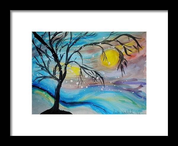 Snow Framed Print featuring the painting Fun In The Snow by Linda Waidelich
