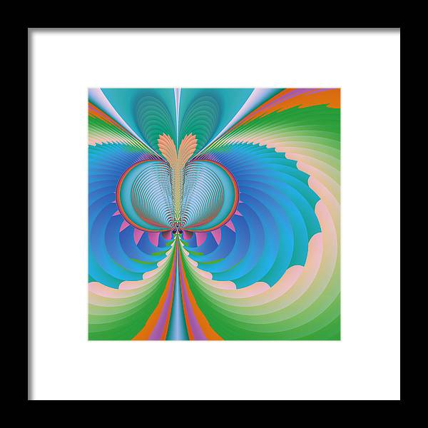 Fractal Framed Print featuring the digital art Funky Butterfly Abstract Art by Design Windmill