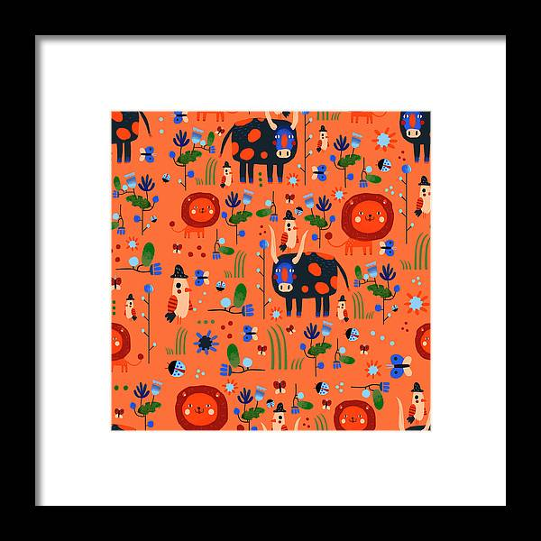 Gouache Framed Print featuring the digital art Funny Pattern With Animals by Ekaterina Ladatko