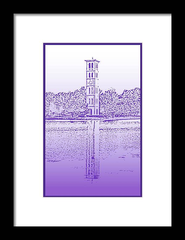 Furman University Framed Print featuring the digital art Furman Bell Tower by Greg Joens