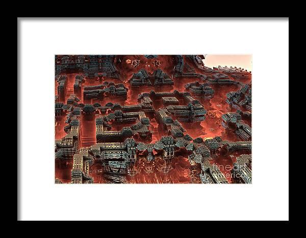 Fractal Art Framed Print featuring the digital art Future City In Red by Bernard MICHEL