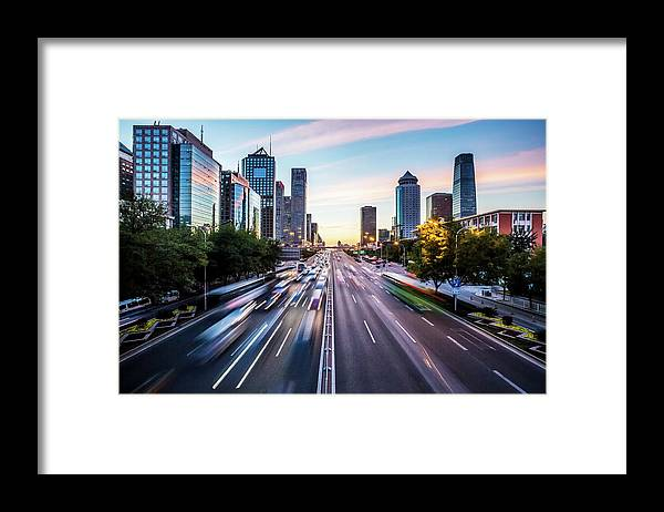 Scenics Framed Print featuring the photograph Futuristic City At Dusk by Itsskin