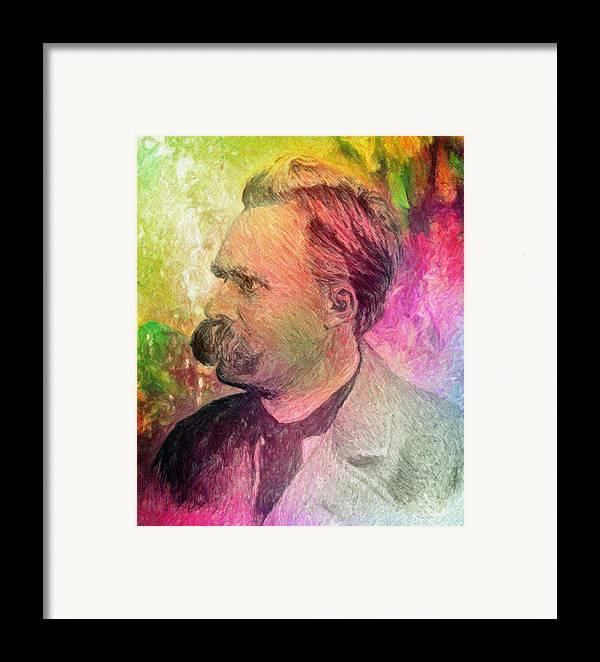 Nietzsche Framed Print featuring the painting F.w. Nietzsche by Taylan Apukovska