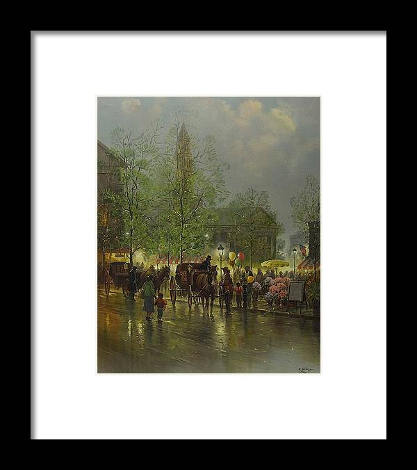 Sky Framed Print featuring the painting G Harvey's Quincy Market by Tian Chen