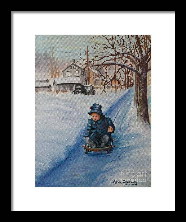 Snow Scene Framed Print featuring the painting Gails Christmas Adventure by Lora Duguay