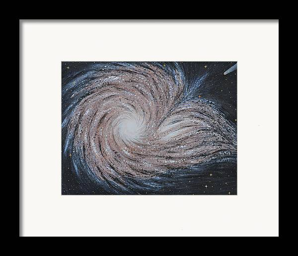 Sky Framed Print featuring the painting Galactic Amazing Dance by Georgeta Blanaru