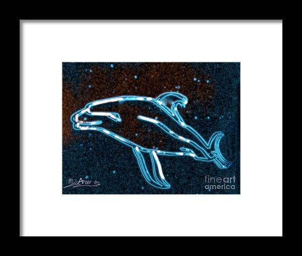 Brochure Framed Print featuring the digital art Galapagos Dolphin 3 by Mark Ansier