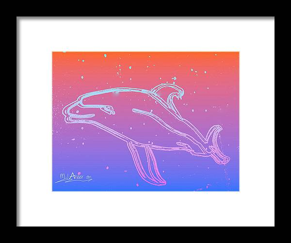 Brochure Framed Print featuring the digital art Galapagos Dolphin 4 by Mark Ansier