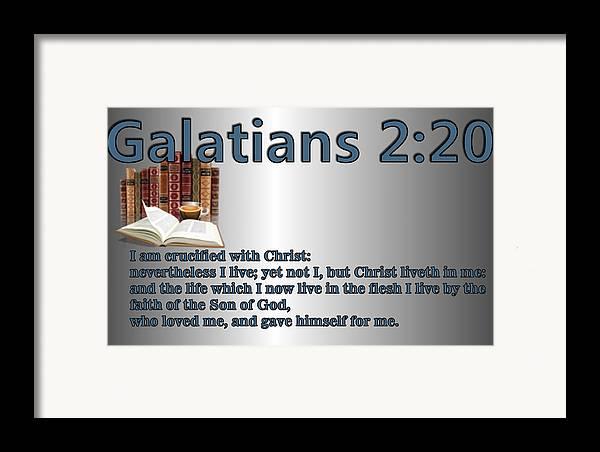 Christ Framed Print featuring the digital art Galatians 2 20 by Ricky Jarnagin