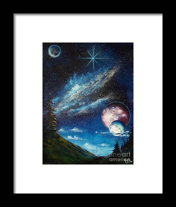 Space Horizon Framed Print featuring the painting Galatic Horizon by Murphy Elliott