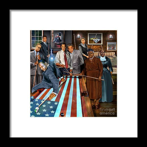 Harriet Tubman Framed Print featuring the painting Game Changers and Table Runners P2 by Reggie Duffie