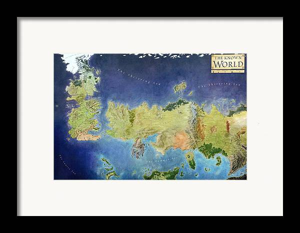 Game Framed Print featuring the painting Game Of Thrones World Map by Gianfranco Weiss