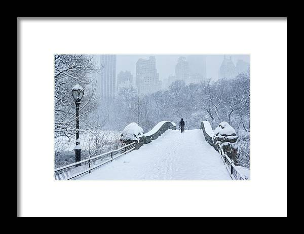 Elevated Walkway Framed Print featuring the photograph Gapstow Bridge Central Park Snowstorm by Matejphoto