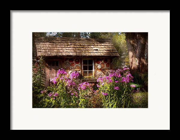 Building Framed Print featuring the photograph Garden - Belvidere Nj - My Little Cottage by Mike Savad