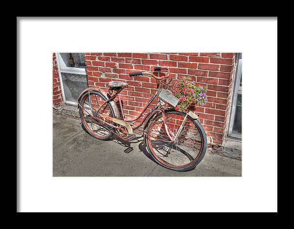 Old Antique Bicycle Bike Antique Hdr Flowers Spring Framed Print featuring the photograph Garden Cruiser by J Laughlin