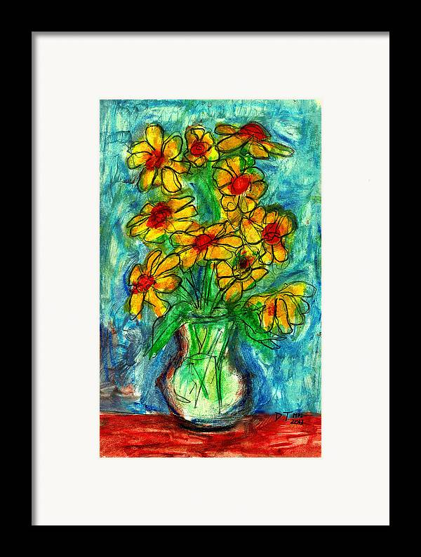 Flowers Framed Print featuring the drawing Garden Flower Mono-print by Don Thibodeaux