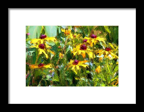 Floral Framed Print featuring the digital art Garden Flowers In Yellow by George Ferrell