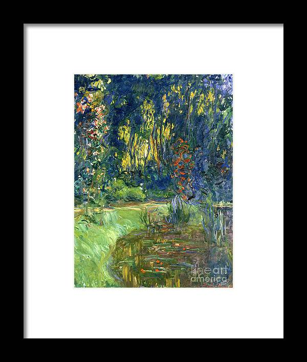 Pond; Impressionist Framed Print featuring the painting Garden Of Giverny by Claude Monet
