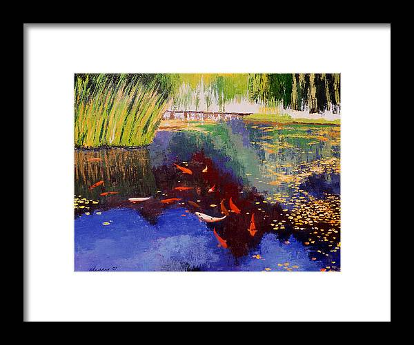 Melody Cleary Framed Print featuring the painting Garden Of Serenity by Melody Cleary