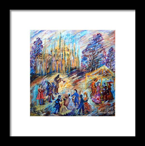 Dancing Framed Print featuring the drawing Garden Party by Milen Litchkov