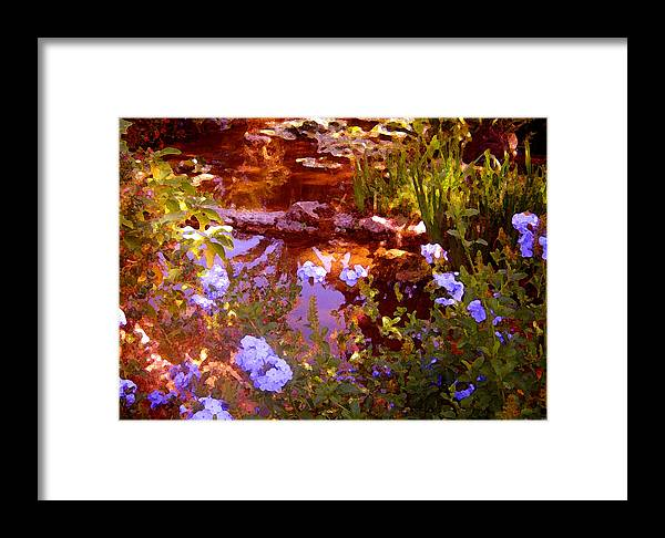Landscapes Framed Print featuring the painting Garden Pond by Amy Vangsgard