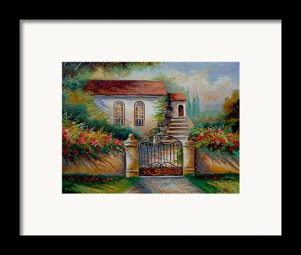 Garden Scene With Villa And Gate Print Framed Print featuring the painting Garden Scene With Villa And Gate by Regina Femrite