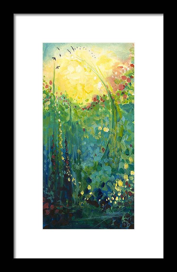 Nature Framed Print featuring the painting Garden Sunrise by Hannah Bailey