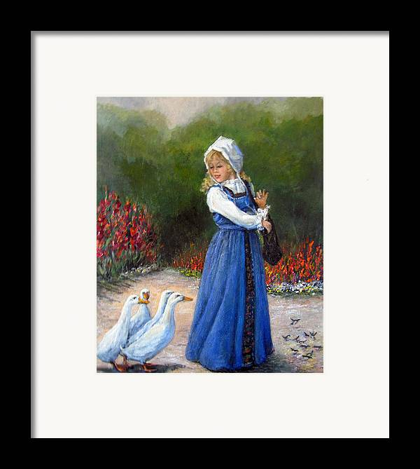 Nature Framed Print featuring the painting Garden Visitors by Donna Tucker