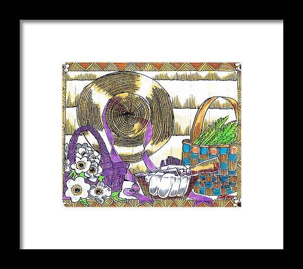 Gardener's Basket Framed Print featuring the drawing Gardener's Basket by Seth Weaver
