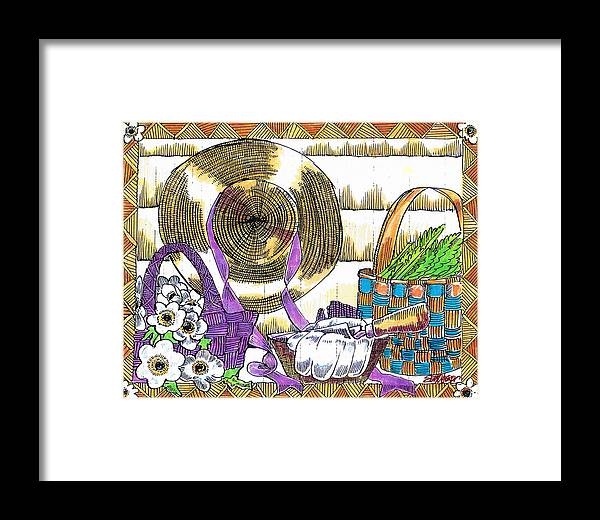 Gardener's Basket Framed Print featuring the drawing Gardener's Basket by Seth Weaver