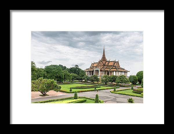 Southeast Asia Framed Print featuring the photograph Gardens At The Royal Palace In Phnom by Tbradford