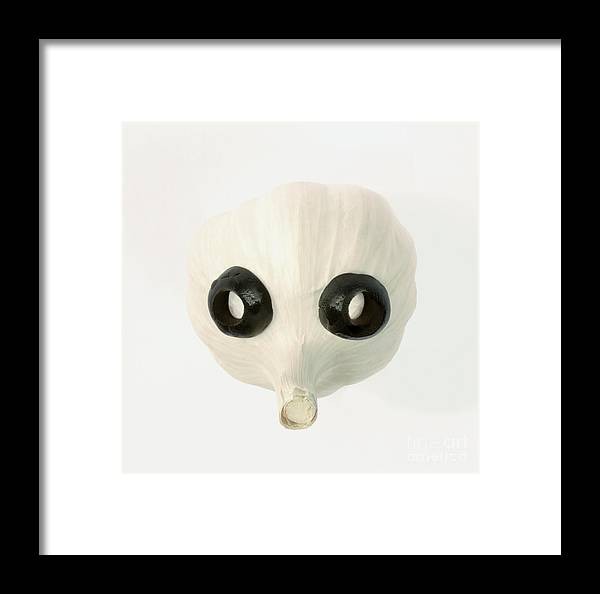 Garlic Framed Print featuring the photograph Garlic And Black Olive Face by Rosemary Calvert