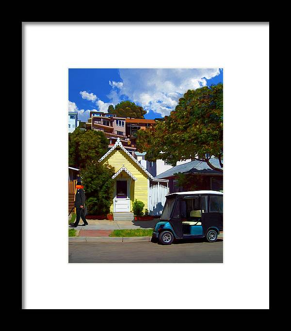 Catalina Framed Print featuring the painting Gary Baldie Takes A Walk by Snake Jagger