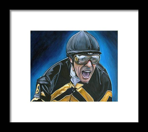 Jockey Framed Print featuring the painting Gary Stevens by Kate Fortin