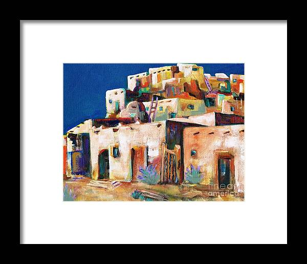Adobe Framed Print featuring the painting Gateway Into The Pueblo by Frances Marino
