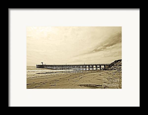 Gaviota Framed Print featuring the photograph Gaviota Pier In Morning Sepia Tone by Artist and Photographer Laura Wrede
