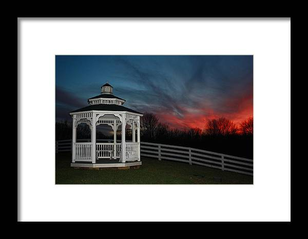 Landscape Framed Print featuring the photograph Gazebo Just Before Night by Terry Scrivner