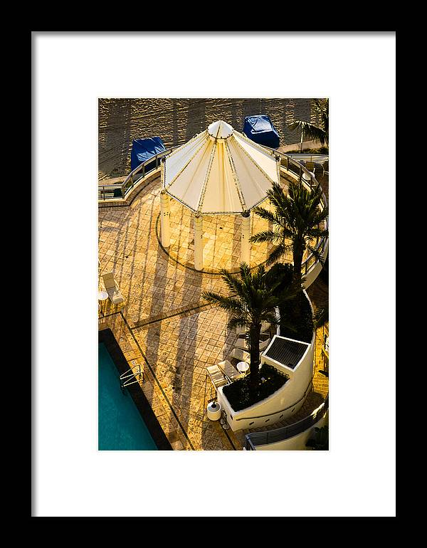 Beach Framed Print featuring the photograph Gazebo Shadow Lines by Ed Gleichman
